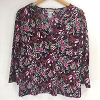 Chicos 2 (size L Large) Blouse Floral Pink Black 3/4 Sleeve V-Neck Stretch Shirt