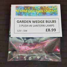 GARDEN LANTERN WEDGE TYPE SPARE BULBS 12VOLT 5WATT PUSH - IN BASE 3 PACK (0096)