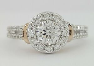 1 ct Diamond Halo Enchanted Disney Cinderella 14K Two Tone Gold Engagement Ring