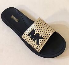 957360123681 Women Michael Kors Slide Lasered Mirror Metallic Adjustable Closure Pale  Gold