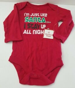Christmas Baby Long Sleeve Body Suit I'm just like Santa...I stay up all night!