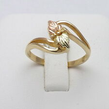 Vintage 10k Tricolor Black Hills Gold Bypass Leaves Ring  Sz 8.75