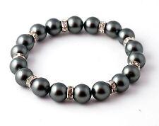 Gray Pearl Stretch Bracelet 7.5 Inch