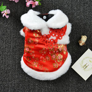 Pet Cheongsam Dog Cat Chinese vintage Tang-style Suit Early Spring Warm Clothes