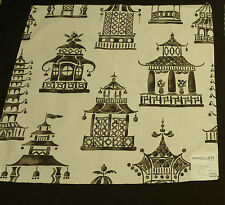 Pindler & Pindler Chinoiserie Pagoda Remnant Fabrics & Woven Charcoal Upholstery