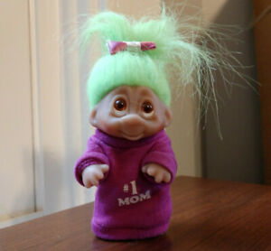 "1985 Norfin Dam Troll Doll 3.5"" #1 Mom, Mother's Day, Green hair, purple shirt"