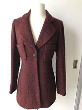 97A Vintage Chanel Wool Burgundy Blazer Coat Jacket Size 36