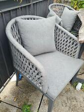 Designer Gartenstühle Stühle Stuhl 4 Stück in grau meliert mit Kissen NP 1580,-