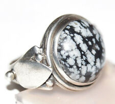 Silberring 52 Schneeflockenobsidian Handarbeit Silber Ring Schwarz Weiß