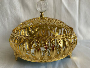 Pierced Gold Tone Pot- Faceted Crystal Finial-Crystal Temptations Chest? - 14 cm