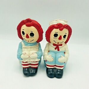 Two Vintage Raggedy Ann & Andy Book Ends Collectible 1970 Bobbs Merrill Company