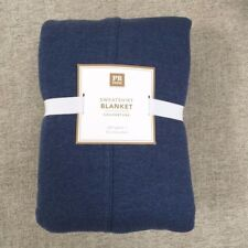 Pottery Barn Teen Sweatshirt Blanket Queen navy Jersey weave