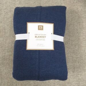Pottery Barn Teen Sweatshirt Blanket throw Twin navy Jersey weave
