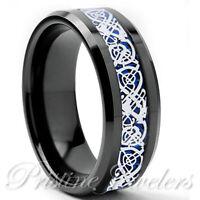 8mm Black Tungsten Carbide Ring Silver Celtic Dragon Blue Carbon Fiber Mens Band