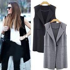 Women Sleeveless Long Waistcoat Vest Jacket Trench Cardigan Blazer Coat Outwear