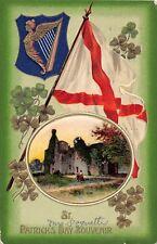 D44/ St Patrick's Day Holiday Postcard 1914 Flag Castle Shield Harp 12