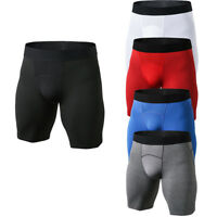 Mens Workout Compression Shorts Sports Running Basketball Boxer Brief Breathable