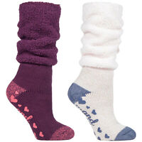 HEAT HOLDERS - Ladies Soft Fluffy Slouch Top Non Slip Slipper Thermal Bed Socks