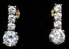 Absolute Sterling Silver Cubic Zirconia Earrings 5.5mm Round w 3 Smaller Stones