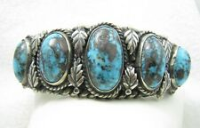 HEAVY Vintage Navajo Morenci Turquoise Sterling Silver Cuff Bracelet - 95 grams