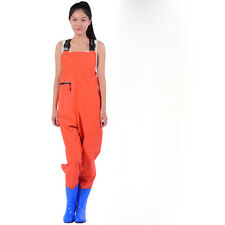 Women Girls Chest Wader With Boots Pocket PVC Outdoor Pants Fishing Waterproof