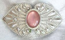 Fabulous Ancient Style Frosty Pink Silvery Hair Clip Barrette 1980s Vintage