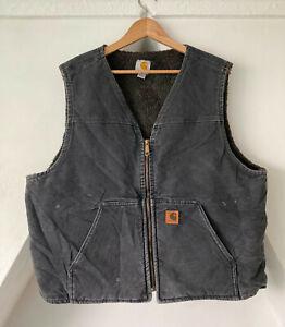 Vintage CARHARTT Sherpa Lined Gilet Body Warmer Vest Jacket Waistcoat Grey XL