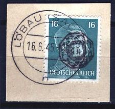 Löbau 12 Briefstück, 16 Pf. Hitler mit Aufdruck, gepr. Zierer BPP