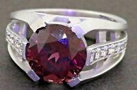 Kieselstein Cord heavy 18K WG 3.75CTW VS1/F diamond/10mm rhodolite cocktail ring