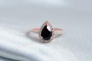 Black Diamond Pear Shape Ring In Rose Gold Finish, Engagement Ring Certified !
