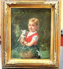 Charles Petit Girl with Lamb Oil Painting Art Beveled Mahogany French 1840-1896