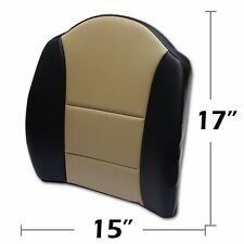 """BIG SIZE 15""""X17"""" S.LEATHER LUMBAR SUPPORT BACK CUSHION ALL PURPOSE BLACK/BEIGE"""