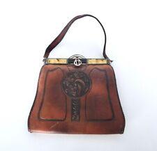 Vintage Art Deco Purse Meeker Made Handbag Tooled Leather Stone Inlay Nouveau