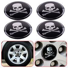 4x 56mm Car SUV Metal Cross Bone Silver Skull Badge Sticker Wheel Center Hub Cap