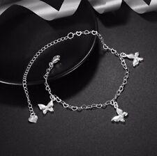 Womens 925 Sterling Silver Butterfly Heart Link Chain Foot Ankle Bracelet Gift