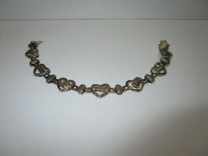 """DL STERLING SILVER 925 MOM AND HEARTS BRACELET 7 1/2"""" OPEN"""