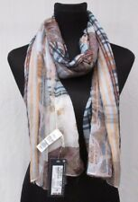 LADIES MARKS AND SPENCER NATURAL MIX CHECK AND FLORAL SCARF PASHMINA