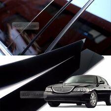 Glossy Black B C Pillar Post UV Coating Cover 6Pcs For LINCOLN 1998-2014 Towncar