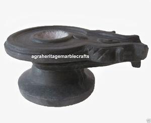 """9"""" Black Marble Stone Yoni Base Shiva Lingam Hindu Pooja Home Decor"""