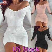 UK Women Off Shoulder Long Sleeve Bodycon Sweater Dress Jumper Short Knit Dress