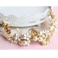 Vintage Floral Gold Leaves Crystal Pearl Wedding Hair Tiara Bridal