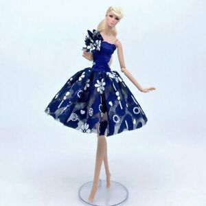 """Blue Floral Flower Tutu Dress Fashion Doll Clothes For 11.5"""" Doll Outfits 1/6"""