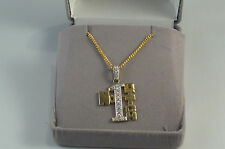 9ct gold No 1 bitch pendant cubic set on 40cm curb chain 6.2gms, new