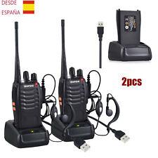 2X BF-888s Walkie Talkie Apto Auriculares Baofeng Intercomunicador CE Negro Kit