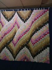 """ Miss Kitty "" Usa Bargello Quilt Top 70"" by 71"" w/1,920 Pieces Blocks Patchwork"