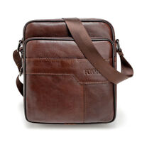 "9"" Men's Leather Crossbody Shoulder Bag Cowhide Messenger Bags Small Purse Bag"