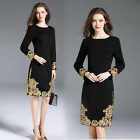Hot sale retro womens round collar Long sleeve embroidery Dress Party gown size#