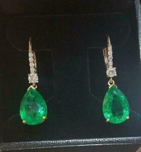 3 Ct Pear Cut Green Emerald Diamond Drop/Dangle Earrings 14K Yellow Gold Over.