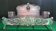 Super King SILVER French Style  Rococo Bed carved from mahogany wood
