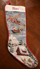 Vintage Needlepoint Christmas Stocking Mom Santa Reindeer Snowy Cabin